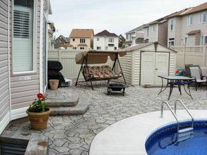 decks, pool, interlock stones, natural stone steps