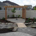 gravel, paver stones, natural stones, pergola, bridge