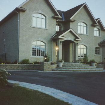 driveway, edge paver stones, raised steps