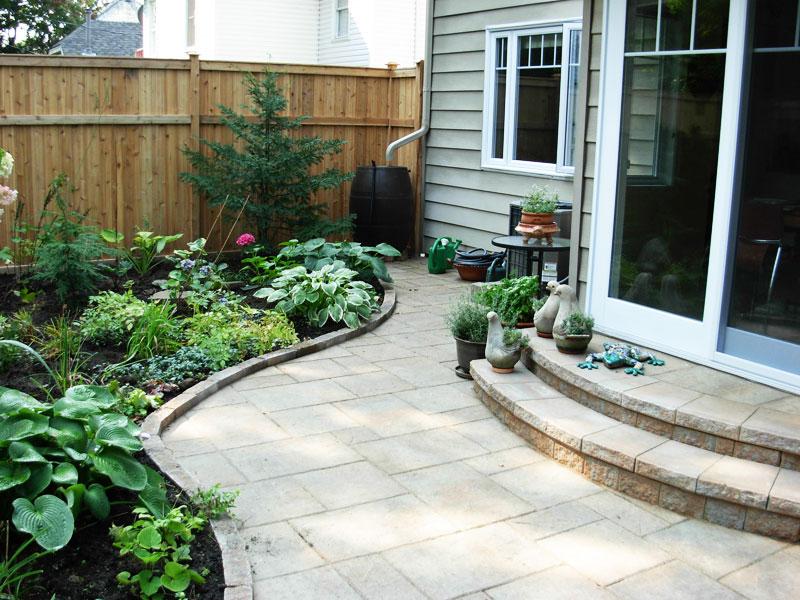 stone slabs, garden, shrubs, two step entrance