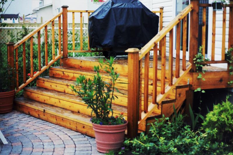 paver stones, wooden steps, plants
