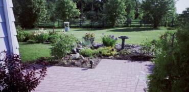 precast concrete paver stones, patio, garden