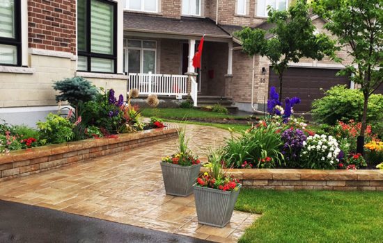 front entrance garden, walkway, flower bed, plants, steps, porch, perennials