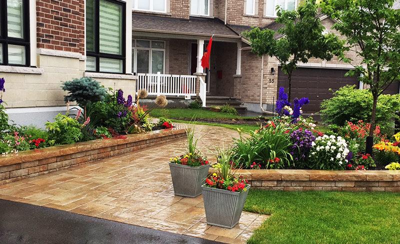 front entrance garden, walkway, flower bed, plants, steps, porch, perennials