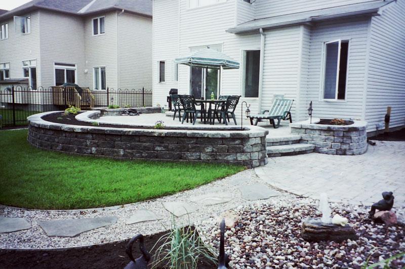 raised stone steps, natural stones, gravel, pathway